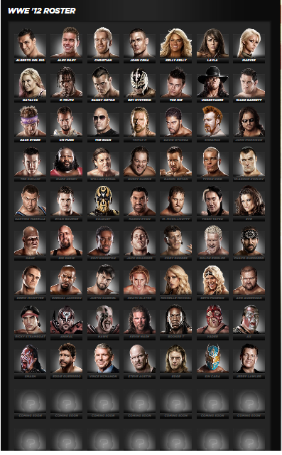 WWE 12 Roster