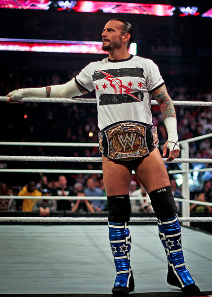 CM Punk enters the ring during his second reign as WWE champion. Taken January 30, 2012 during the WWE Raw telecast in Kansas City, Missouri. Photo By: Steve Wright Jr.