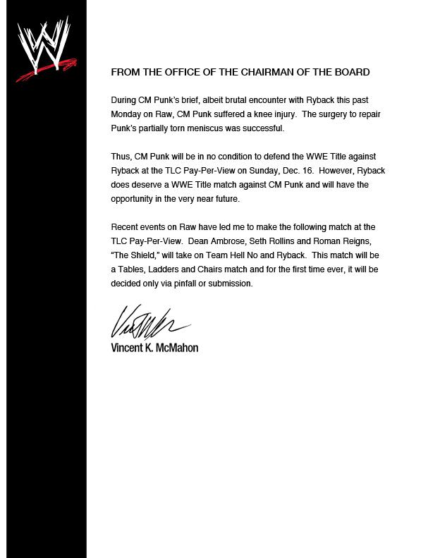 Vince McMahon comunicado