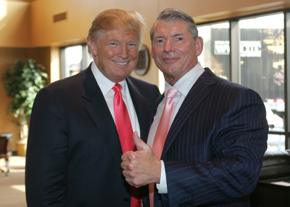 Vince McMahon (L) and Donald Trump attend a press conference about the WWE at the Austin Straubel International Airport on June 22, 2009 in Green Bay, Wisconsin.    (June 22, 2009 - Source: Mark A. Wallenfang/Getty Images North America)