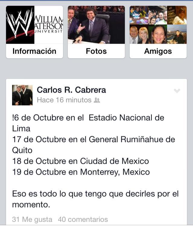 Facebook personal de Carlos Cabrera